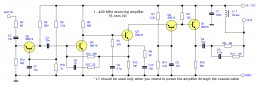 HF & VHF antenna amplifier without coils schematic circuit